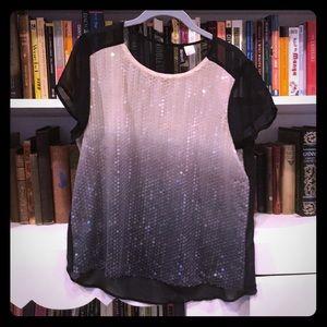 Sheer Ombré Sequin Shirt